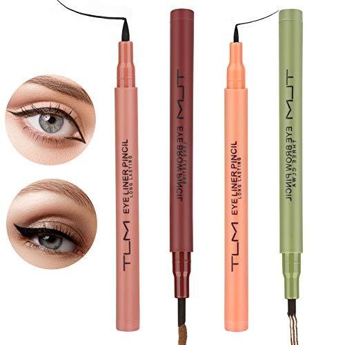 Augenbrauen Farben Tattoo Augenbrauenstift Wasserfest, 2 Farben Langanhaltend Augenbrauenstift Eyebrow Pencil Tattoo Eyebrow Pen für Natürlich Augen Make-up(Braun/Schwarz)