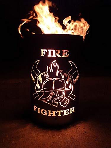 Tiko-Metalldesign Feuertonne/Feuerkorb mit Motiv Firefighter - Feuerwehrmann