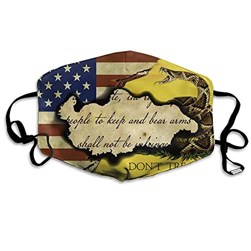 Cloth Mouth Guard for Kitchen Hiking Daily Use, Washable Anti Pollution Warm Protection Cover, Vintage American Flag and Gadsden Flag Don't Tread On Me Retro Copy