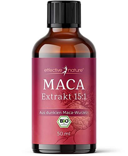 Effective nature – Flüssiger Macaextrakt 15:1 – aus dunklen Maca-Wurzeln, Hochkonzentriert, Bio-Qualität, Hohe Bioverfügbarkeit, 50ml