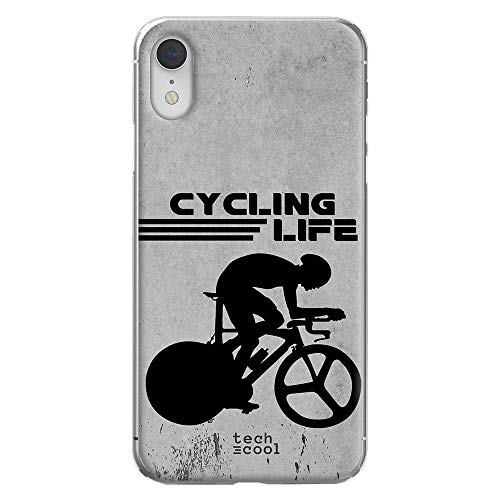 Funnytech Custodia in Silicone (TPU) per iPhone XR [Design Esclusivo, Stampa ad Alta Definizione] Cover, Case [Ciclismo Cycling Life Fondo Gris]