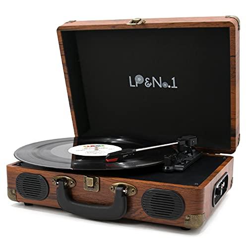 LP&No.1 Tocadiscos vintage para maleta con altavoces integrados, reproductor de discos de vinilo de 3 velocidades con acabado clásico...
