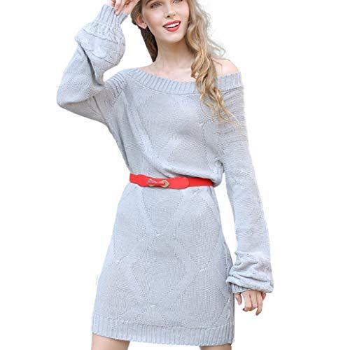TEELONG Kleider Damen Damen Winter Sexy Slim Langarm Slash Neck Strickkleid Ballkleid Partykleid Cocktailkleid(M, Grau)