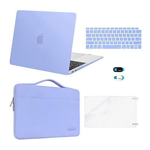 MOSISO Compatible with MacBook Air 13 inch Case 2020 2019 2018 Release A2337 M1 A2179 A1932 Retina Display Touch ID, Plastic Hard Shell&Bag&Keyboard Cover&Webcam Cover&Screen Protector, Serenity Blue