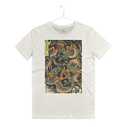 INSIDETSHIRT Maglietta Stampa Draghi Giapponesi Arti Marziali Dragone Japanese Dragons Tattoo T-Shirt Man (Warm White, L)