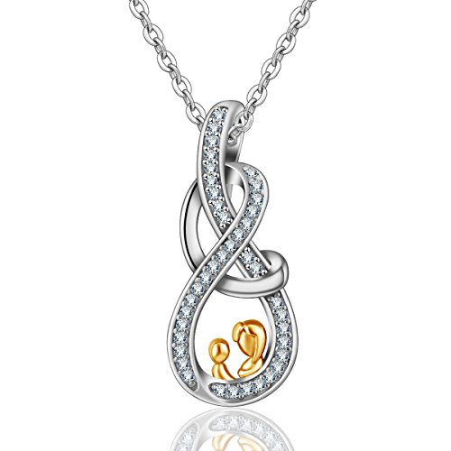 "INFUSEU Collar para mamá, colgante""Madre e hijo"" de plata esterlina 925 con joyería de circonio cúbico, el mejor regalo para mamá Mujer Esposa"