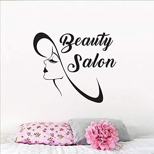 Cartel De Salón De Belleza Pegatina De Ventana De Pared Hermosa Chica Pestañas Largas Arte De Pared Calcomanía Vinilo Belleza Señora Mural Decoración 67X57Cm