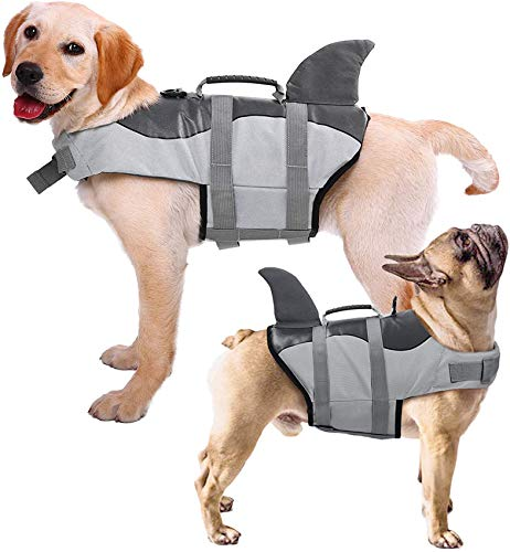 FR&RF Chaleco salvavidas para perro con mango de rescate de flotación superior de alta visibilidad, chaleco de flotación para cachorros, playa, piscina, barco, cinco tamaños, gris, S
