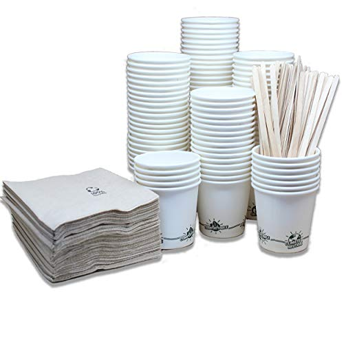 econuk – 100 Vasos Desechables biodegradables de 110ml (4oz) + 100 Agitadores...