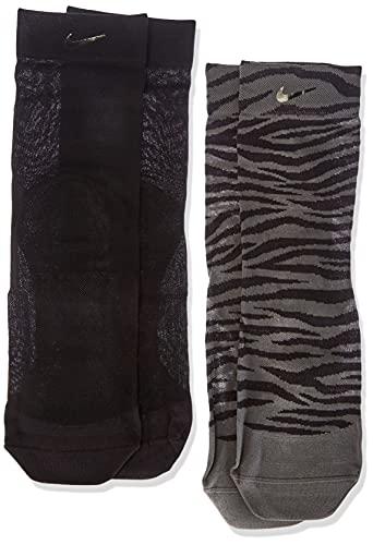 NIKE CU8401-903 W NK SHEER ANKLE - 2PR SOLID Socks womens iron grey(black)/black(black) M