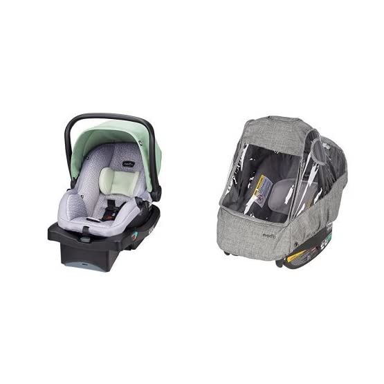 Evenflo LiteMax 35 Infant Car Seat with Infant Car Seat Weather Shield and Rain Cover, Grey Melange