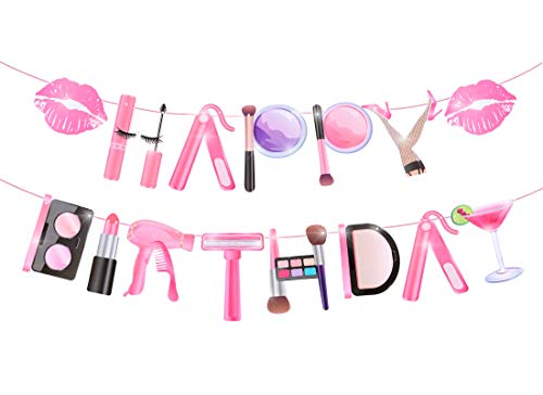 Spa Makeup Happy Birthday Party Banner Makeup Birthday Party Decoration Salon Supplies for Girls 18th Birthday Cosmetics Spa Makeup Theme Party Photo Booth Prop