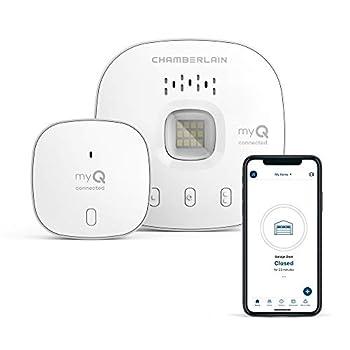 myQ Chamberlain Smart Garage Control - Wireless Garage Hub and Sensor with Wifi & Bluetooth - Smartphone Controlled New Design myQ-G0401-ES White