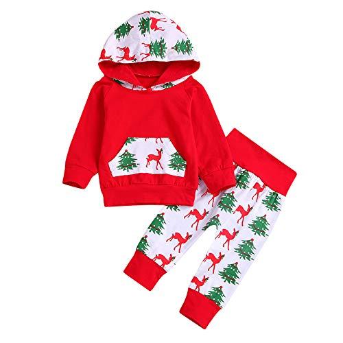 Janly Clearance Sale Conjunto de pantalones para bebés de 0 a 24 meses, para bebés recién nacidos, niñas y niños, con capucha, con diseño de retazos, para 6 a 12 meses (rojo)