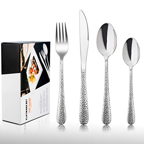 HaWare Juego de cubiertos de acero inoxidable de 32 piezas, incluye cuchillo/cuchara/tenedor, apto para fiestas de cocina, camping, espejo, apto para lavavajillas, servicio para 8 personas