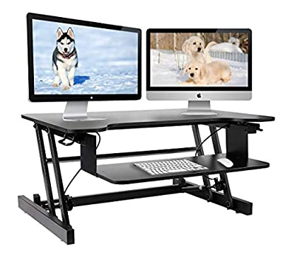 Height Adjustable Standing Desk & Stand Up Desk - Sit Stand Desks Improve Productivity & Health with Standing Workstation - Best Standup Desk Riser & Work Desk for Laptops - Stops Back Pain
