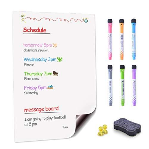 EVILTO Tableau Blanc Magnétique A3+ Réfrigérateur, Flexible Effaçable à Sec Tableau Mémo Aimante Frigo Liste de Courses et d'Affichage Tableau d'écriture pour Enfants