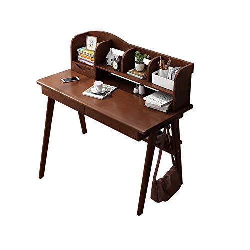 YB&GQ Computer Scrivania con Mensole Portaoggetti,Studio Writing Desk con Cassetto Portaoggetti Tirare-Vassoio Esterno,tavoli Ufficio Workstation-Marrone 80x60x75cm(31x24x30)