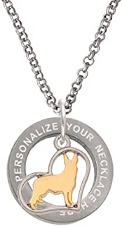 Two-Tone German Shepard Silhouette Heart Custom Engraved Affirmation Ring Necklace