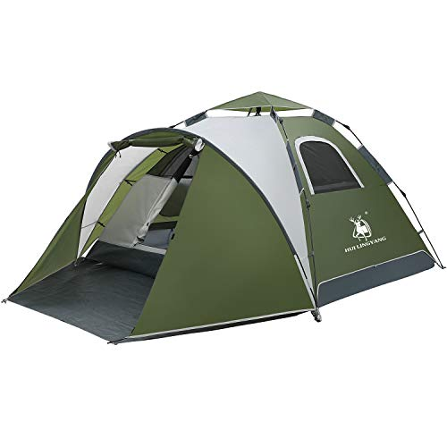 3-4 Person Instant Pop Up Tent with Porch-Automatic Setup Sun Shelter for Beach- Instant Family Tents for Camping,Hiking & Traveling (Green)