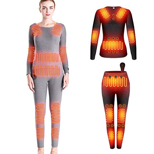 Yeah-hhi Ropa interior térmica de invierno traje de 12 zonas calefacción camisa larga+pantalones con 28 piezas imán de energía inteligente DC interfaz calentador de cuerpo ropa, mujer ~ gris, S