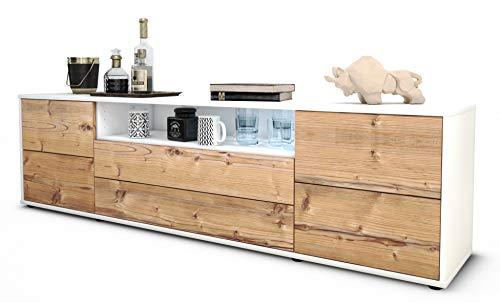 Stil.Zeit TV Schrank Lowboard Aurora, Korpus in Weiss matt/Front im Holz-Design Pinie (180x49x35cm), mit Push-to-Open Technik und hochwertigen Leichtlaufschienen, Made in Germany