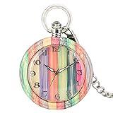 XVCHQIN Moda Protección del Medio Ambiente Ecológico Natural Color carbonizado Madera de bambú Reloj de Bolsillo de Cuarzo Reloj de Cadena de Aguja Luminosa, Color
