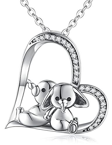 Collares para Mujer Elefante de Plata de Ley 925, Collares Colgante de Corazón de Animal Lindo, Regalo de Joyería para Mamá, Novia, Mujer, Esposa, Niñas