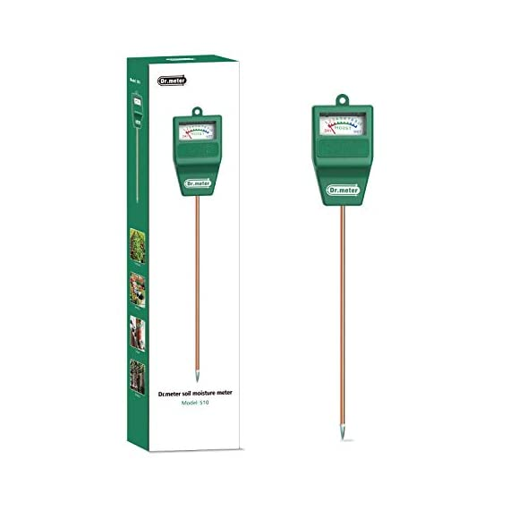 Soil Moisture Meter, S10 Soil Test Kit, Dr.meter Moisture Meter for Plants, Plant Water Meter for Garden Lawn Farm… 6 ▶ 【Compact & Portable】 Have you been sticking your finger in the soil hoping to feel when it's time to water? Why not eliminate the guesswork and keep your hands clean when you use the Dr.meter Soil Moisture Sensor Meter! Know the right time to water your garden, farm, lawn and plants, anytime. ▶ 【Easy to Read】No experience required--while this machine is sophisticated, it's not complicated! With an interface using ten scales and a color-coded reading system from red, green to blue, it's never been more straightforward reading your soil moisture. ▶ 【No Batteries Required】Who needs batteries or electricity? Just plug stick it into the ground and get a reading in no time!