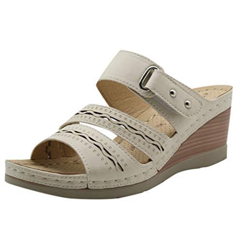 TIFIY Damen Pantoffeln Neue Feste Sandalen mit dicken unteren Keilabsatz-Sandalen mit runden Zehen Strandschuhe Strand Modisch Bequem Sandalen Weiß 38