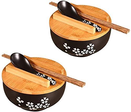 Cuencos de ramen, juego de 2 cuencos de cerámica para sopa de ramen de 32 oz con tapa, cuchara y palillos, cuenco de fideos de arroz de estilo japonés, para almacenamiento de alimentos en la cocina