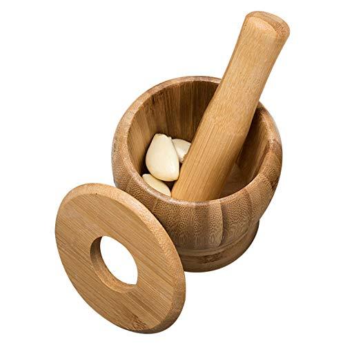 ZEH Mortero y mortero de bambú, con/sin Tapa Molinillo de Especias Píldora Píldora Guacamole Bowl Pimienta de ajo Pulence Pulse Grinder Crusher Mix, para Cocina, con Cubierta, Grande FACAI
