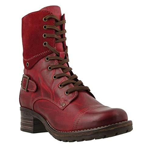 Huhu833 Damen Stiefel Slip On Stiefelette Winterschuhe Winter Warm Gefüttert Winterstiefel Wasserdicht Reißverschluss Rot Boots (Rot, 39 EU)