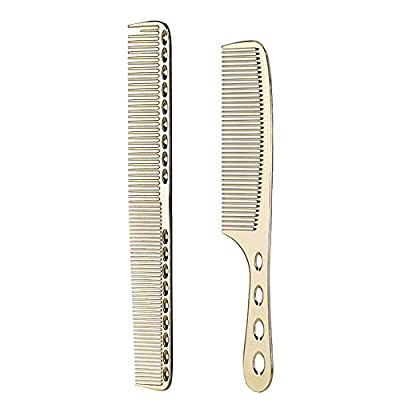 2 pcs Stainless Steel Hair Combs Anti Static Styling Comb Hairdressing Barbers Combs