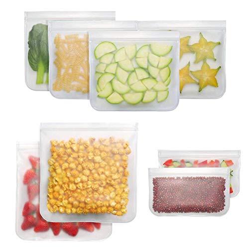 Pahajim Borsa per Alimenti Riutilizzabile per Alimenti BPA Sacchetti con Cerniera in Silicone per la Conservazione degli Alimenti,Ecologico per Pane, Sandwich, Carni,Verdure,Noci (Bianco-8)