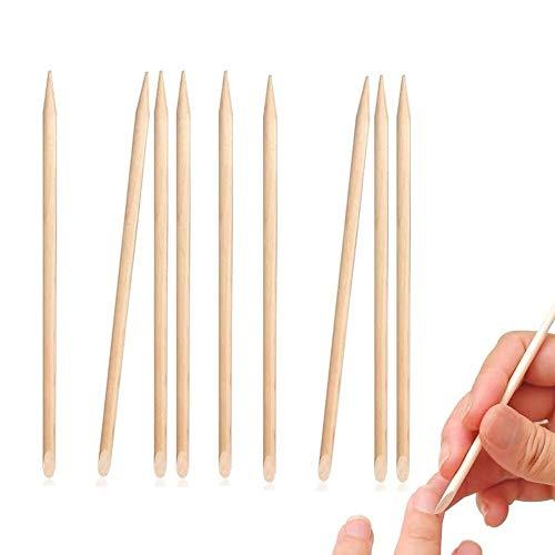 Lot de 200 bâtonnets en bois orange pour nail art cuticule double face multifonction dissolvant manucure pédicure outil anti-rayures art bois stylet