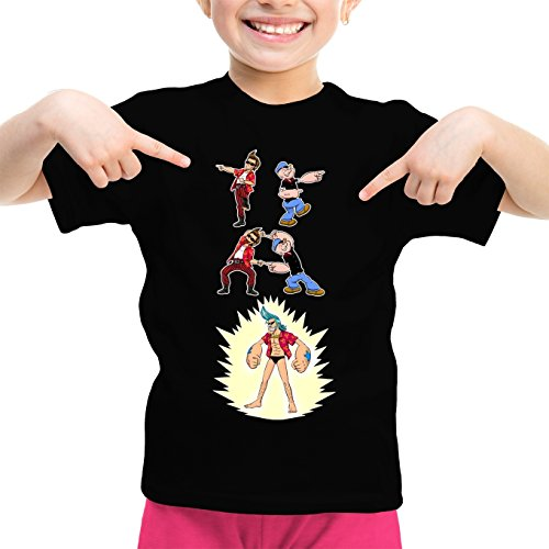 T-Shirt Enfant Fille Noir One Piece - Popeye parodique Franky, Ace Ventura et Popeye : Fusion YAHAAAAA !!! (Super Splendide :) (Parodie One Piece - Popeye)