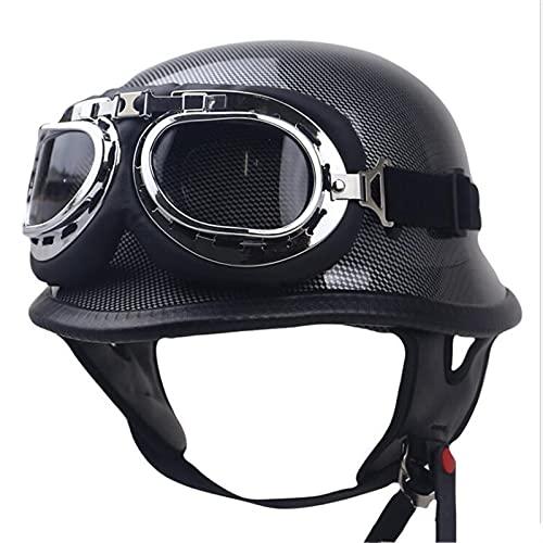 QIANGU Casco de moto con gafas de estilo vintage adecuado para hombres y mujeres, motocicleta motorista, crucero, scooter Touring casco DOT ECE certificación