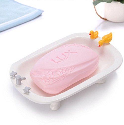 QWhing Soap Saver Harz-Doppelabfluss-Seifen-Kasten-Seifen-Halter-Behälter-Seifen-Teller, der Ente-Form duscht Seifenbehälter