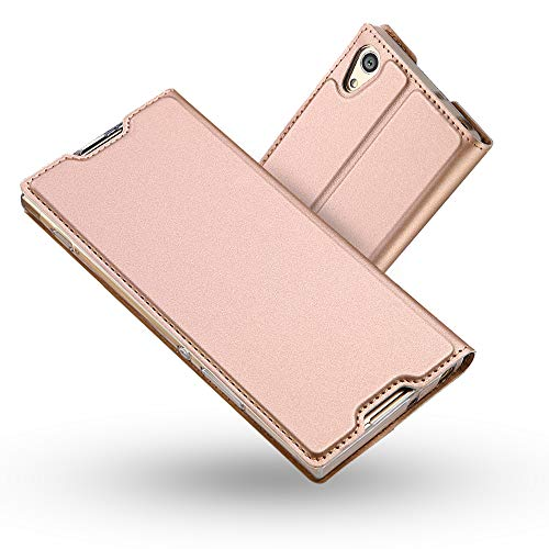 Funda Sony Xperia XA1 Ultra,Radoo Slim Case de Estilo Billetera Carcasa Libro de Cuero,PU Leather Con TPU Silicona Case Interna Suave [Cierre Magnético] para Sony XA1 Ultra (Oro rosa)