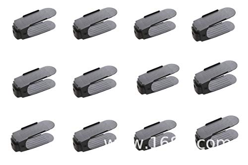 Organizador de zapatos de doble capa de altura ajustable, de plástico, ahorro de espacio, ahorro de espacio, 50% de espacio, para zapatero, armario, estante, 12 unidades, color...