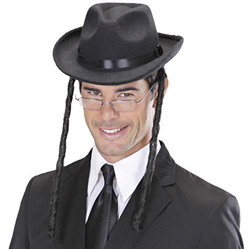 Amakando Rabbihut mit Zöpfen Rabbi Kopfbedeckung David Hut Rabbiner Juden Hut Kostüm Accessoire Jüdischer Hut mit Schläfenlocken