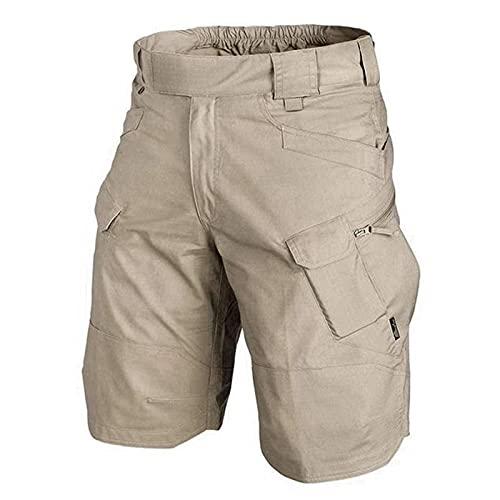 2021 - Pantalones cortos tácticos cargo para hombre, cintura elástica, varios bolsillos, de secado rápido, transpirables, resistentes al agua, para senderismo, escalada, camping, caqui, xxx-large,