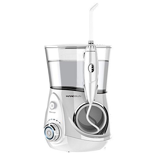 Hangsun Munddusche mit Massagefunktion HOC680 700ml Professional Dental Care Water Flosser mit 7 Wasserstrahl -Spitzen + Aufbewahrungsbox für Zahnpflege