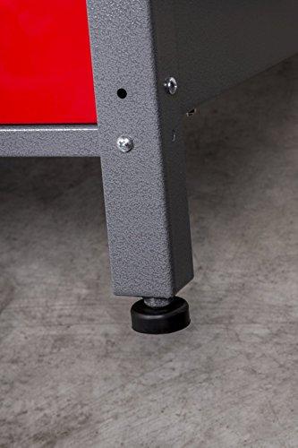 Werkbank aus Metall mit 30 mm Sperrholzplatte, robusten Oberflächen, verschließbaren Türen und Schublade, Maße B 1,20 x H 0,85 X T 0,60 m - 6