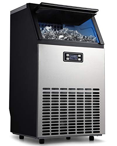 Northair Commercial Ice Maker, Built-In Stainless Steel Ice Machine, 100LBS/24H, 33LBS Storage Capacity, Free-Standing Design for Party Gathering, Restaurant, Bar, Coffee Shop w/Ice Shovel, Hose