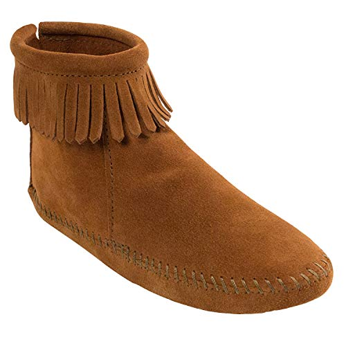 Minnetonka Women's Back Zipper Bootie,Softsole Brown,6 M US