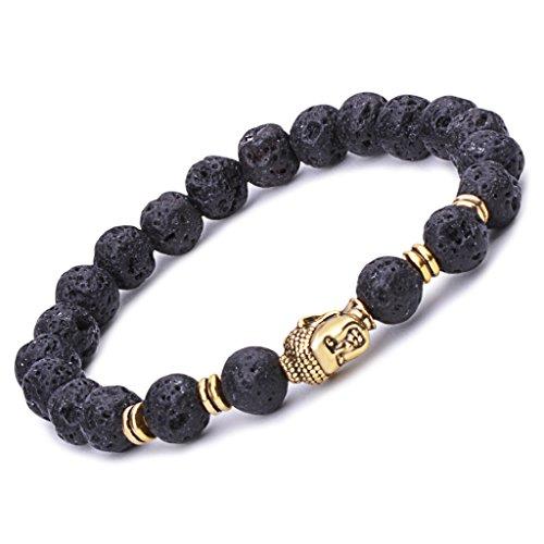 Unendlich U Unisex Buddha Armband, Zen-Buddhismus Legierung Armreif, EnergieStein Kugeln Perlen Gebet Mala Stretch Energiearmband, Schwarz(Lavastein)