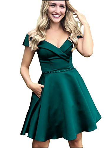 Short Homecoming Dresses Satin A Line Off Shoulder Beaded Prom Formal Evening Gowns 2019 Teal