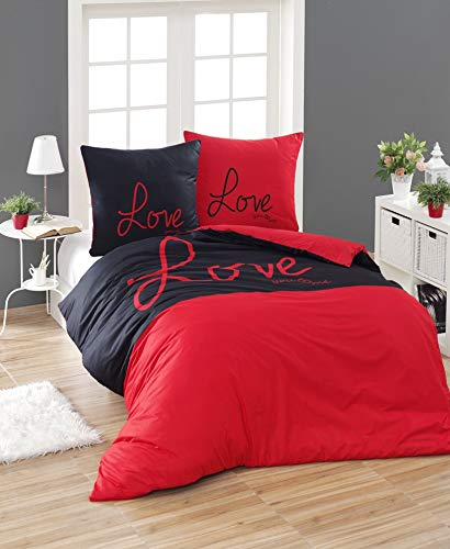 3 tlg. Renforcé Bettwäsche Set | Bettdeckenbezug 200x220 cm, mit 2 Kopfkissenbezüge 80x80 cm | LOVE YOU ME | Rot - Schwarz | 3 teilig Bettgarnitur | Baumwolle Bettbezug mit Reißverschluss ÖKO-TEX